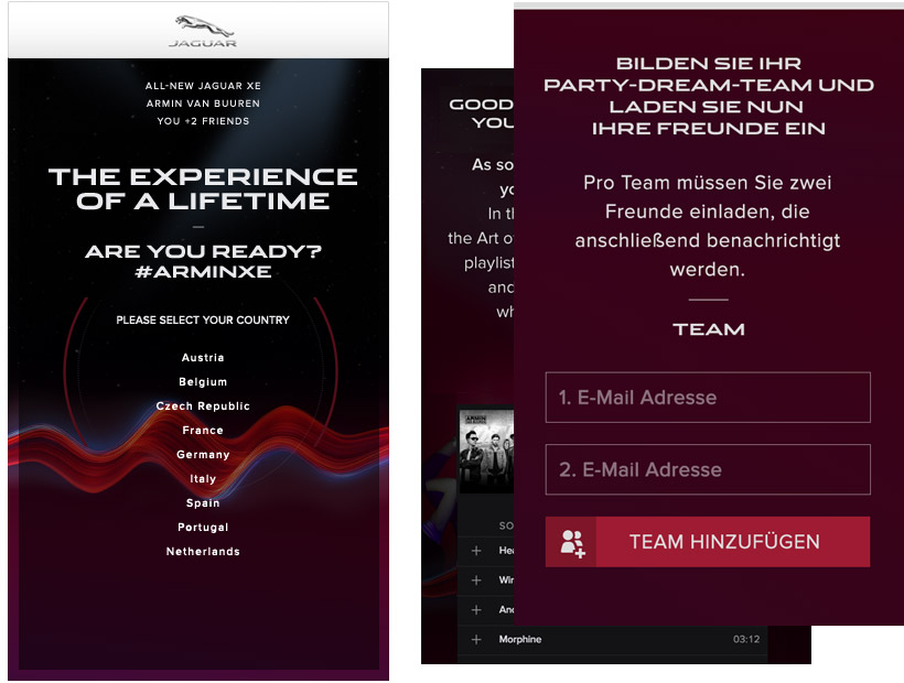 Jaguar XE ArminXE Facebook Kampagne Card