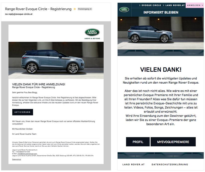 Screenshots Range Rover Evoque Circle